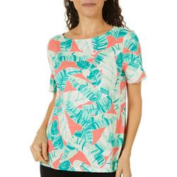 Coral Bay Petite Tropical Leaves Boat Neck Short