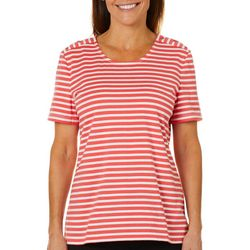 Coral Bay Petite Striped Button Shoulder Top
