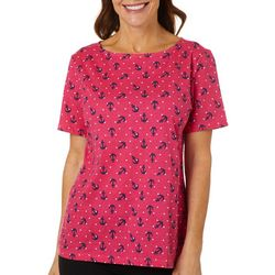 Coral Bay Petite Anchor Print Boat Neck Top