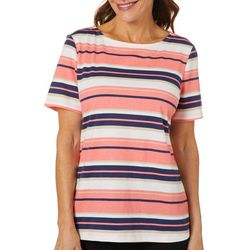Coral Bay Petite Engine Stripe Boat Neck Top