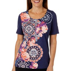 Coral Bay Petite Embellished Floral Screen Print Top