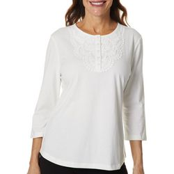 Coral Bay Petite Solid Crochet Detail Short Sleeve Top
