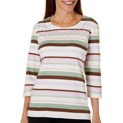 Coral Bay Petite Embellished Fall Stripe Top