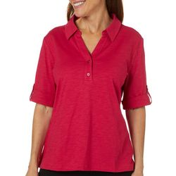 Coral Bay Petite Solid Elbow Sleeve Polo Top