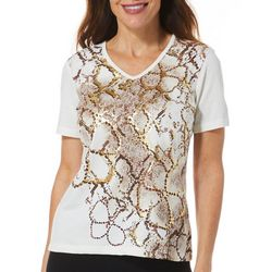 Coral Bay Petite Snakeskin Foil Detail Short Sleeve Top