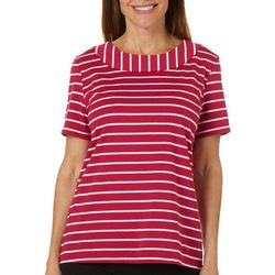 Coral Bay Petite Striped Boat Neck Short Sleeve Top