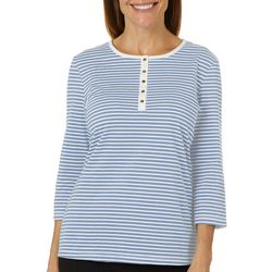 Coral Bay Petite Striped Round Neck Henley Top