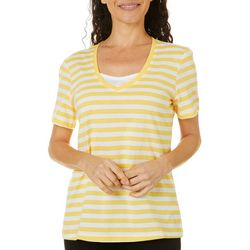 Coral Bay Petite Striped Faux Layer Short Sleeve Top