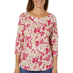 Coral Bay Petite Leaf Print Button Embellished Boat Neck Top