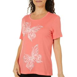Coral Bay Petite Embellished Butterfly Couple Top