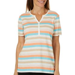 Coral Bay Petite Striped Split Neck Short Sleeve Top