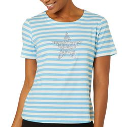 Coral Bay Petite Star Horizontal Stripes Top