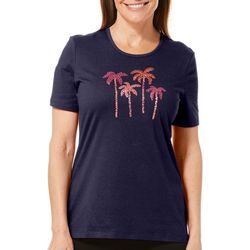 Coral Bay Petite Jeweled Palm Tree Party Top