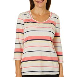 Coral Bay Petite Voyage Stripe Jeweled Neck Top
