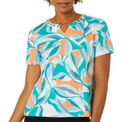 Coral Bay Petite Jumble Palm Leaves Short Sleeve Top