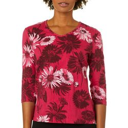 Coral Bay Petite Daisy Print V-Neck Top