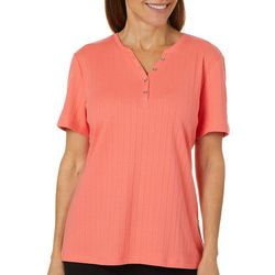 Coral Bay Petite Solid Textured Split Neck Short Sleeve Top