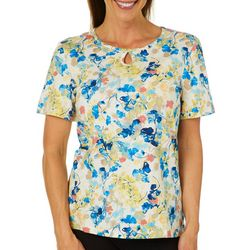 Coral Bay Petite Painted Flowers Keyhole Short Sleeve Top