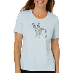 Coral Bay Petite Embellished Bulldog Short Sleeve Top