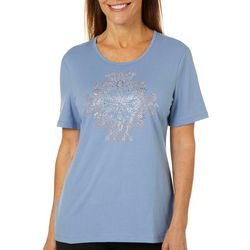 Coral Bay Petite Solid Embellished Medallion Top