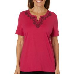Coral Bay Petite Solid Shell Embellished Short Sleeve Top