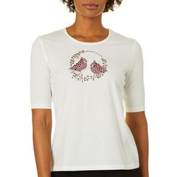 Coral Bay Petite Holiday Cardinal Embellished Top