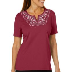 Coral Bay Petite Fall Embroidered Solid Short Sleeve Top