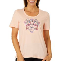 Coral Bay Petite Solid Embroidered Flowers Top