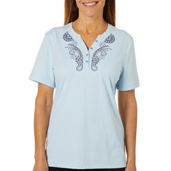 Coral Bay Petite Embroidered Solid Henley Top