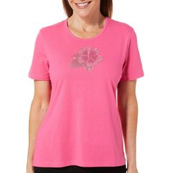 Coral Bay Petite Jeweled Hibiscus Flower Top
