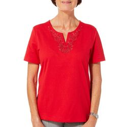 Coral Bay Petite Floral Embroidered Split Neck Top