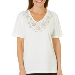 Coral Bay Petite Embellished Block V-Neck Top