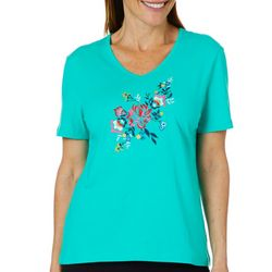 Coral Bay Petite Floral Embroidered V-Neck Top