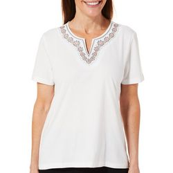 Coral Bay Petite Embroidered Medallion Split Neck Top
