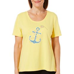 Coral Bay Petite Embroidered Anchor Top