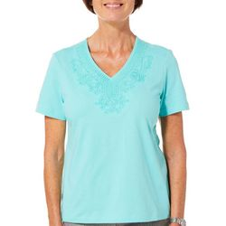 Coral Bay Petite Solid Damask Embroidered V-Neck Top