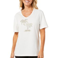 Coral Bay Petite Jeweled Palm Tree Duo Top