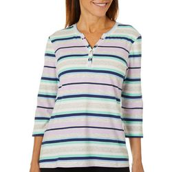 Coral Bay Petite Heathered Stripe Henley Elbow Sleeve Top