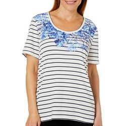 Coral Bay Petite Striped Tropical Leaf Top