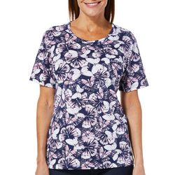 Coral Bay Petite Everyday Butterfly Print Top