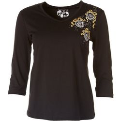 Coral Bay Petite Silver Bells Embroidered Top