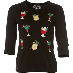 Coral Bay Womens Petite Christmas Round Neck Top