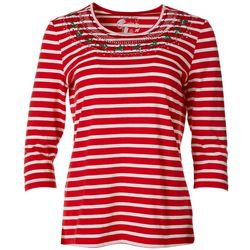 Coral Bay Petite Festive Stripe Embroidered Top
