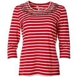 Petite Festive Stripe Embroidered Top