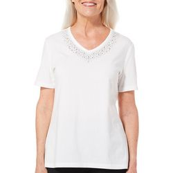 Coral Bay Petite Embellished Cascade V-Neck Top