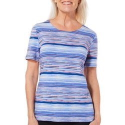 Coral Bay Petite Embellished Scratch Striped Top