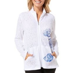 Coral Bay Energy Petite Shell Print Zip Jacket