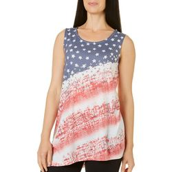 Coral Bay Petite Flag Print Asymmetrical Tank Top