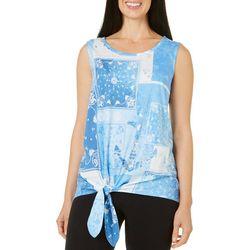 Coral Bay Petite Patchwork Print Tie Front Top