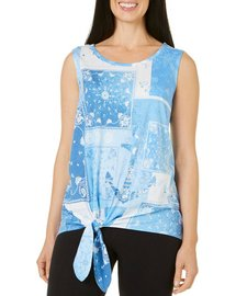 Coral Bay Petite Patchwork Print Tie Front Top